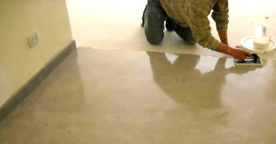 Reparación en un piso de concreto